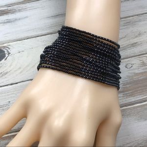 Jewelry - Black and gray seed bead multistrand bracelet